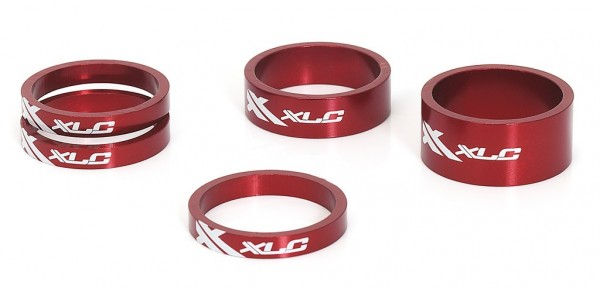 "XLC A-Head Spacer-Set AS-A02 3 x 5, 1 x 10, 1 x 15mm, 1 1/8"" rot"