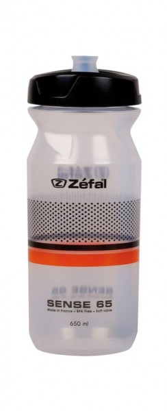 Trinkflasche Zefal Sense M65 650ml/22oz Höhe 193mm transp.(sw/orange)